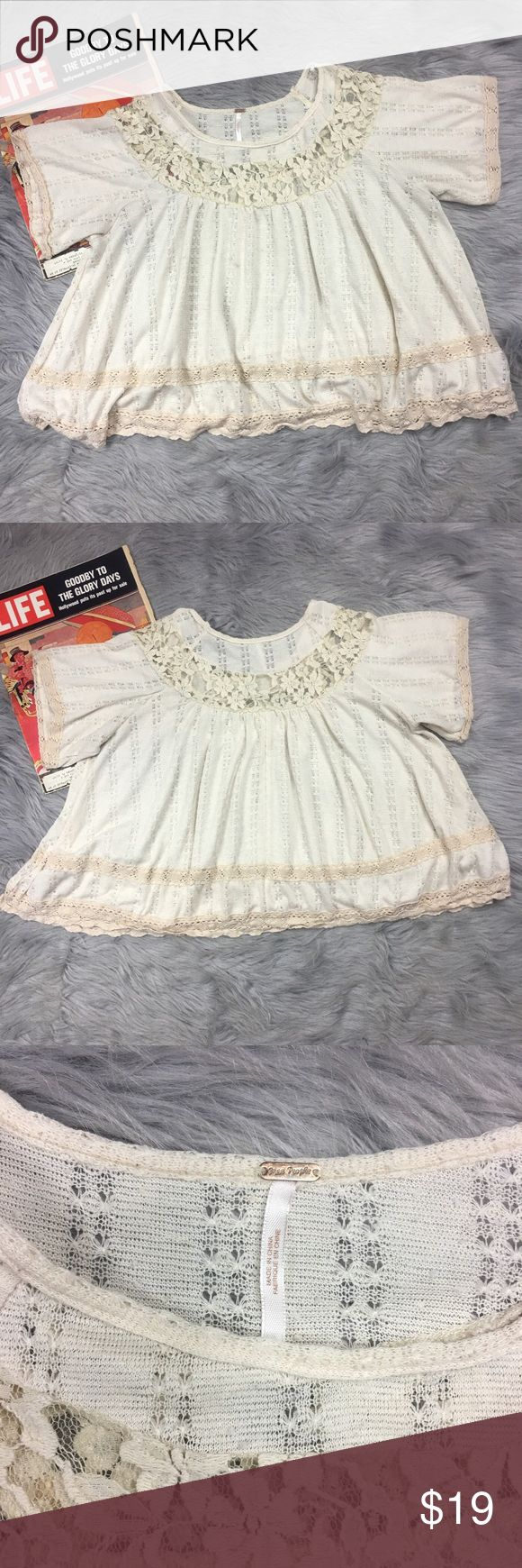 "Free People Semi Sheer Baby Doll Blouse Top Free People Sz M Loose Fit Beige Semi Sheer Lace Crochet Neckline Baby Doll Blouse Top  Nice Pre-Owned Condition, 1 small smudge like spot on front (see pic) not very obvious, No Holes   *Measurements are taken with garments laid flat and unstretched, please compare to your own garments for best fit*  Chest laid flat from pit to pit: 26"" across  Length from collar to hem: 22"" Free People Tops Blouses"