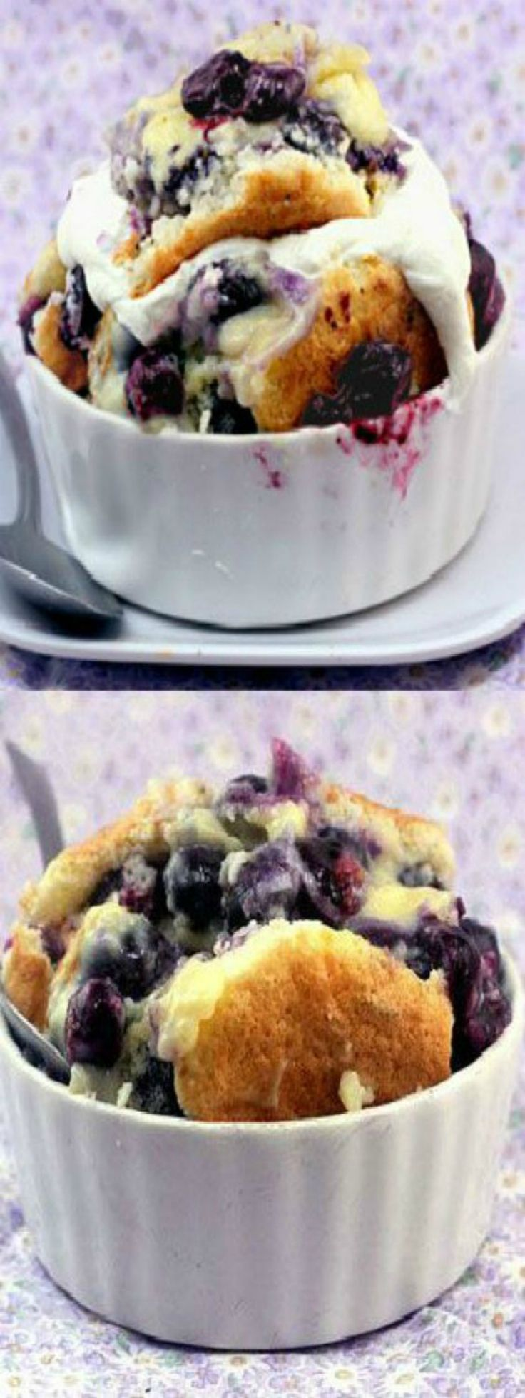 Magic Blueberry Custard Pudding Cake - One batter morphs into cake, pudding and blueberry filling.