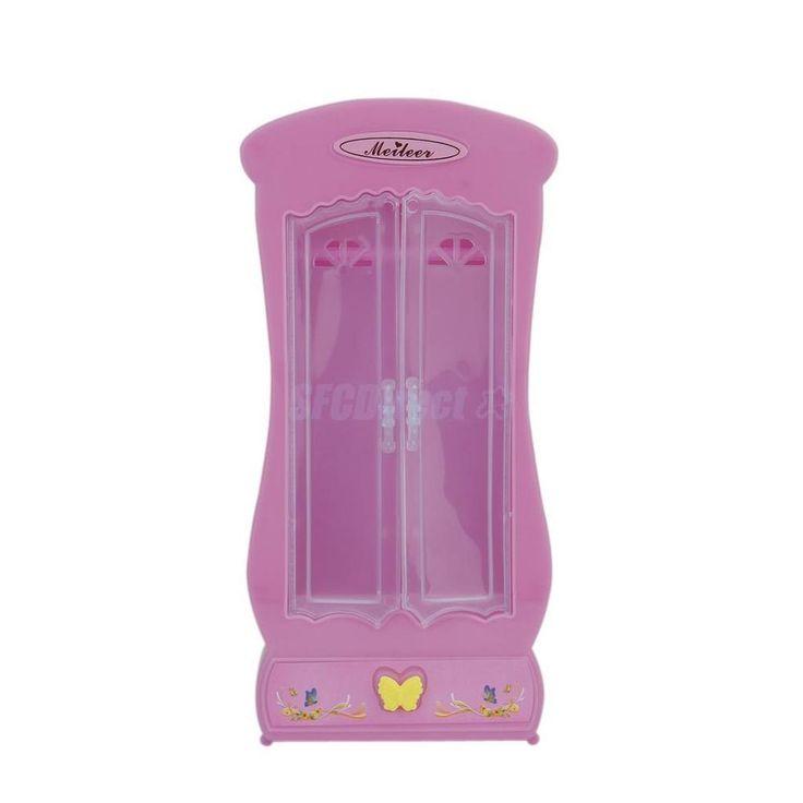 Pink Closet Wardrobe for Barbie Princess Doll House Bedroom Furniture Miniature #Unbranded