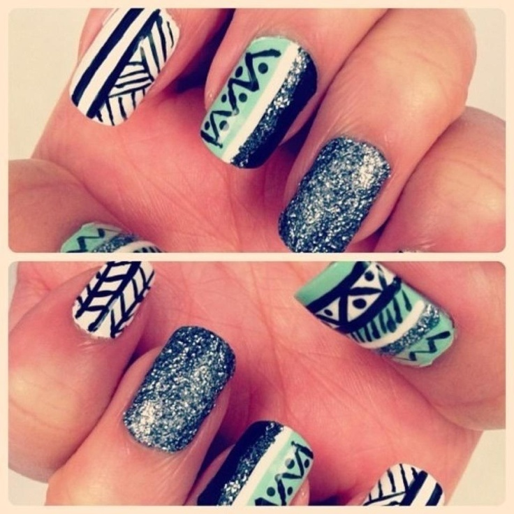 Really cool!Nails Art, Awesome Nails, Wedding Nails, Nails Design, Hot Nails, Glitter Nails, Nails Pattern, Tribal Nails, Tribal Prints