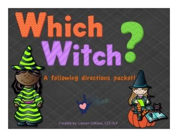 ** 50% off for the first 48 hours!! Following directions is a common goal for many of our students.  It can be difficult to continue finding new and fun ways to target this skill with our students.  Which Witch is a fun, Halloween themed, activity packet that contains activities easily adaptable for differentiated learning levels!