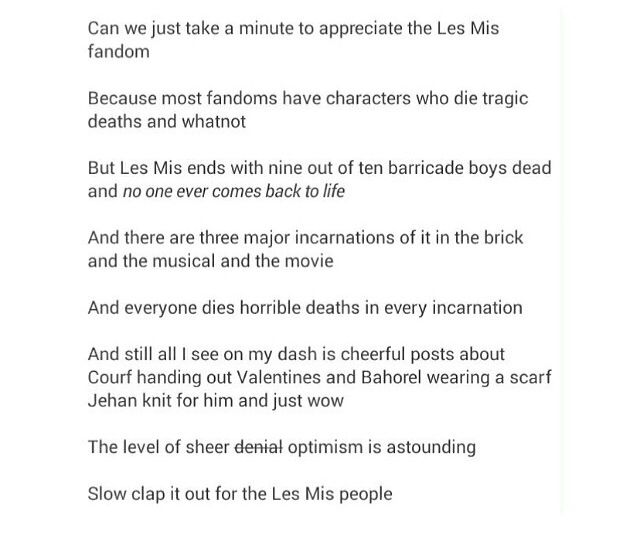 Three cheers for the Les Mis fandom. And may I just comment on the fact that they called the book the brick? That makes me smile.
