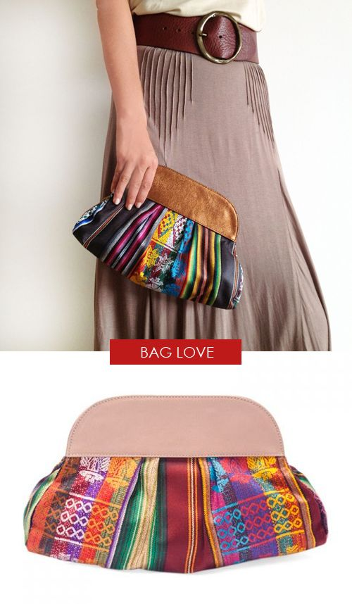 multicolored handwoven clutch made in Colombia