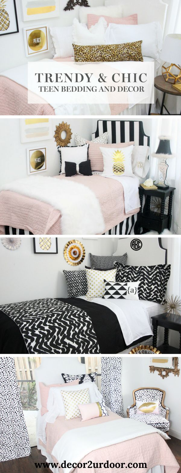 We've taken all of the guess work out of designing your dorm room. Select one of our NEW trendy dorm room bedding packages, add your monogram and checkout. It's that simple. Décor 2 Ur Door's dorm room collections are complete with dorm room pillows, comfortable and classic duvet covers, dorm bed skirts, dorm room headboards and more.