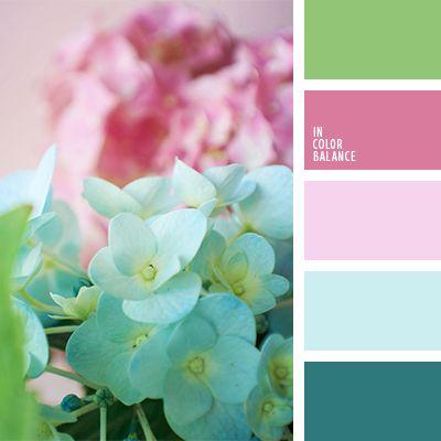 """""""бейби блу"""" цвет, """"бейби пинк"""" цвет, бледно-розовый, бледный розовый, зеленый, изумрудный, контрастные цвета, лиловый цвет, насыщенный розовый, оттенки голубого, оттенки розового, подбор цвета, салатовый, сочные тона, тёмно-зелёный, цвет гортензии, цвета"""