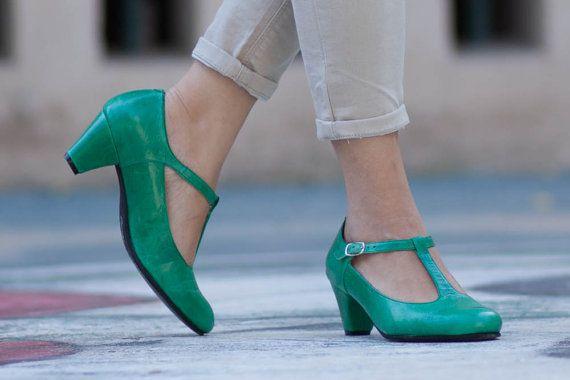 Lederen schoenen lederen Pumps T vorm Flamencoschoenen