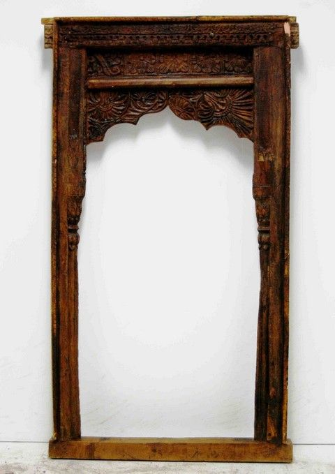 berbere world imports 100 107 11 indian hand carved wooden window frameswooden - Wooden Window Frame