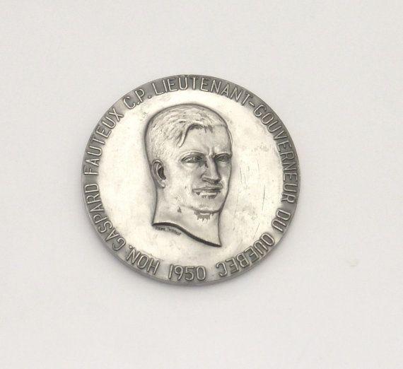 Rare Vintage 1950 Quebec Lieutenant Gouverneur Gaspard Fauteux Silver Medal - 1 of 5 Known #SilverMedal #QuebecLtGovernor #CanadaGovernment #OfficialMedal #ArtMedal #CanadaMedal #CanadaPolitics #CanadaHistory #LtGovernorCanada
