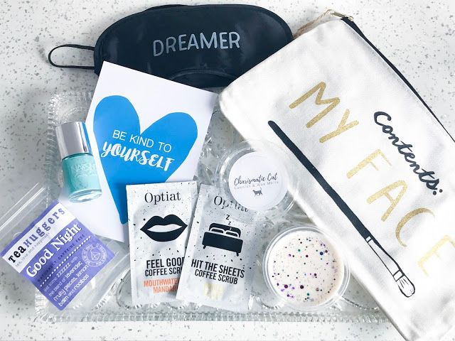 What's Inside March TreatBox UK - Optiat Scrub, Wax Melt, Makeup Bag Contents My Face, Eye Mask, Nails Inc Harrington Square Polish Cotton Candy, Tea Huggers, Door Sign