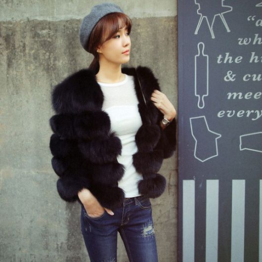 New Fashion Short Natural Fox Fur Winter Warm Coat For Women Real Jacket Striped Style Plus Size | worth buying on AliExpress