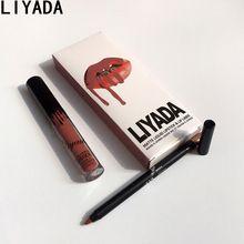 2017 hot nouveau mat rouge à lèvres liquide + lèvres crayon maquillage durable imperméable à l'eau brillant à lèvres kyli cosmétiques kit batom(China (Mainland))