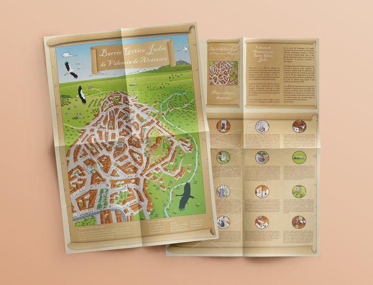 Plano callejero ilustrado (cara y retira) - Barrio Gótico Judío | Laruinagrafica - Estudio creativo y poliédrico