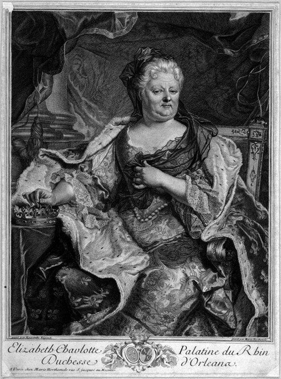 41- Duchesse d'Orléans (Marie Hortemels) - Portrait de Charlotte-Élisabeth de Bavière —Artiste: Charles Limonneau (1645-1728) d'après Hyacinthe Rigaud. Date 1714. Engraving. Current Location: Mulba Eugène Leroy. - § E. CHARLOTTE DE BAVIERE: .. avec comme légende Fecunditas conservatrix galliae. En effet, si le futur Louis XV venait à décéder, c'est Philippe d'Orléans, régent, qui serait monté sur le trône.