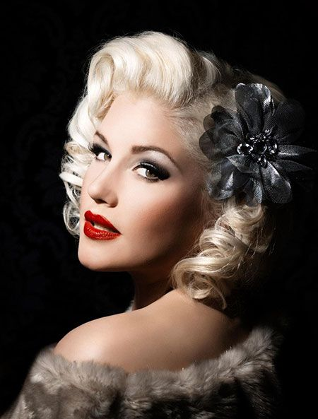 The 1950's Styled Curly Hair with Head Piece