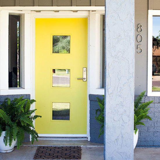 What First Impression Does Your Front Door And Walkway: Yellow Front Doors, Hardware And The Square On Pinterest