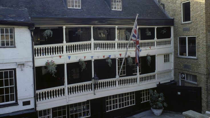 The exterior of The George Inn, Southwark, (built 1677), the only remaining galleried inn in London