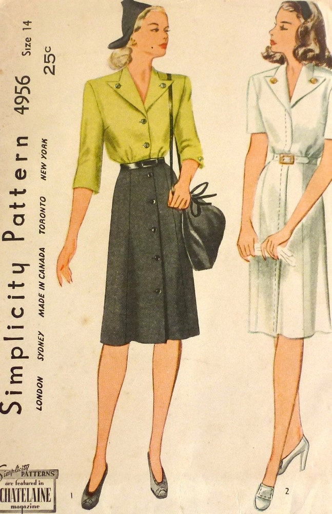 1940s collar vintage sewing pattern