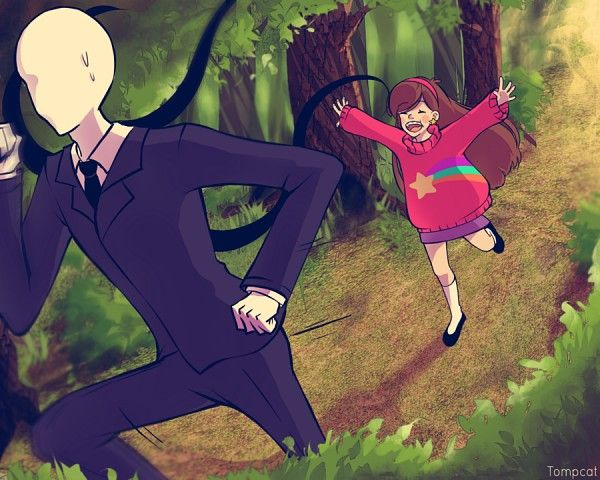 Slenderman running AWAY from Mabel, I love this