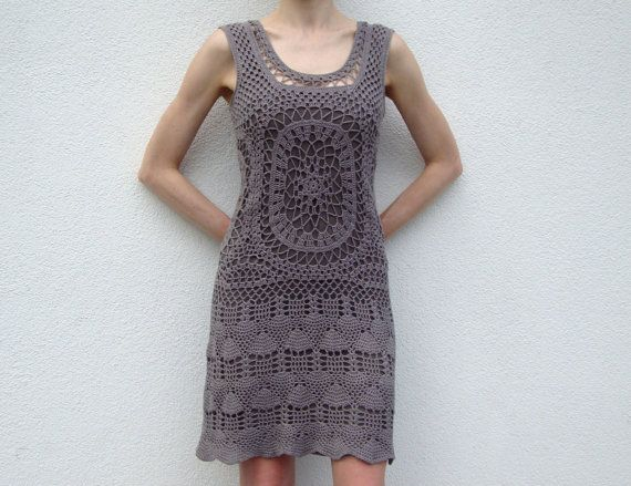 Crochet designer dress PATTERN, detailed TUTORIAL for every row + CHARTs, crochet cocktail dress pattern, sleeveless dress crochet pattern.