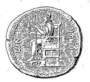 """Görög mitológia – Wikipédia """"A hajdani 12 m magas Zeusz-szobor ábrázolása egy éliszi érmén."""" Idézet: Wikipédia"""