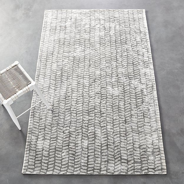 Shop Tread Tufted Rug 8'x10'.   Hand drawn line work is transformed into an all-over pattern on this super soft rug.  Woven from Lyocell, a fiber made from natural wood pulp and known for it's color depth and sheen.