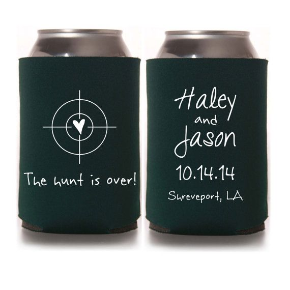 The Hunt is Over Wedding Koozies - Personalized Wedding Favors for Guests, Rustic Can Cozies, Fall Wedding, Destination Wedding Favors for Guests, DIY Wedding Ideas, Country Wedding, Southern Wedding #weddingkoozies #weddingfavors #rusticwedding #fallwedding