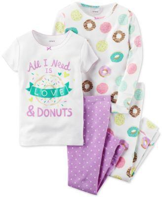 Carter's Baby Girls' 4-Pc. Love & Donuts Pajamas Set
