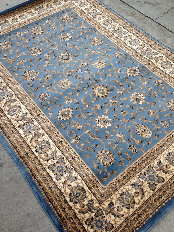 Light Blue Persian Style Oriental Area Rug 8x10 8 X 10 Tabriz Rugs Gold Beige