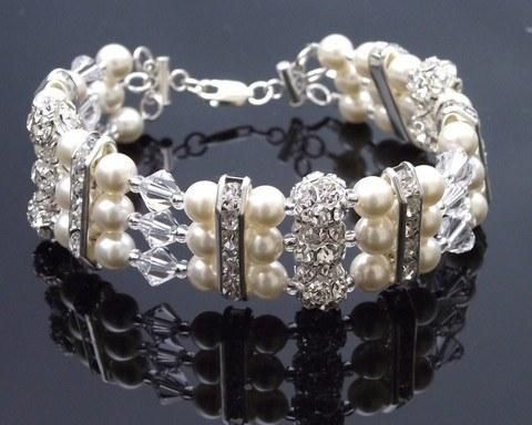 Triple Row Sparkling Wedding Pearl Bracelet, Ivy