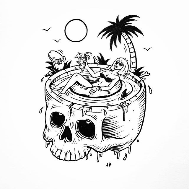 Unwinding the coils in Palm Springs #jamiebrowneart #palmsprings #skull…