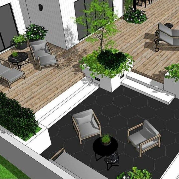 Parterre inclus dans une terrasse en bois jardin Pinterest - drainage autour d une terrasse