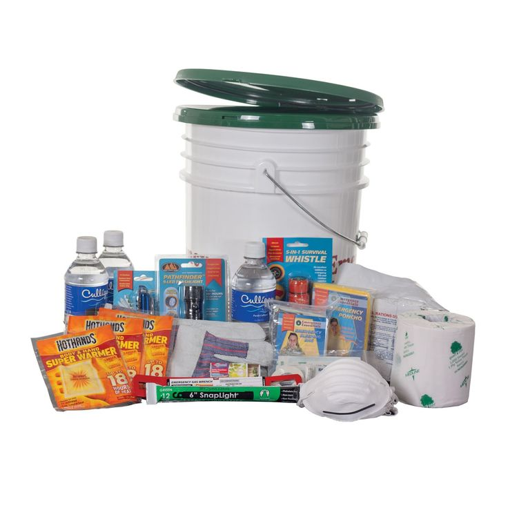 Basic Earthquake Survival KitEmergency Gas Wrench 1 Lidless Bucket 5 Gal 1 Enzyme 300 Deodorizer 10 Tote-Able Toilet Lid 1 Toilet Paper 2 Leather Canvas Gloves 1 Pair 1 Dust Mask 12 Bottled Water (16.9 oz) 3 SOS 3600 1 Hard Candy 3 Warmer, 18-hour 3 Emergency poncho 1 Emergency sleeping bag 2 Strike Anywhere matches 1 Lightstick, 12-hour 1 Pathfinder Flashlight 1 5-in-one whistle 1 AAA Batteries 3 Pocket first-aid kit (20 Piece) 1 Knife, 13-function 1 - See more at…