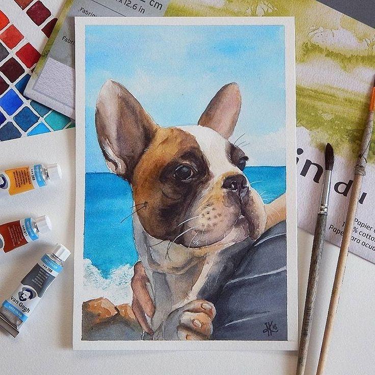 французский бульдог frenchbulldog frenchie watercolor акварель illustration