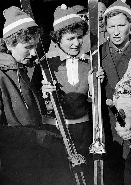 Photograph of the Olympic winners Sirkka Polkunen, Mirja Hietamies, and Siiri Rantanen (1956) ||  Mirja  Hietamies-Eteläpää (7 January 1931 – 14 March 2013) was a cross country skier from Finland who competed during the 1950s.   She won a gold medal in the 3 x 5 km at the 1956 Winter Olympics in Cortina d'Ampezzo and a silver medal in the 10 km at the 1952 Winter Olympics in Oslo. |  http://fi.wikipedia.org/wiki/Mirja_Hietamies-Etel%C3%A4p%C3%A4%C3%A4