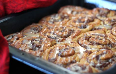 yeasted cinnamon rolls filled with sugary and buttery roasted bananas ...