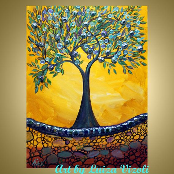 OLIVE TREE Original Fantasy Landscape Painting Collage Art made with real glass pieces in shades of blue, green, light pink, light citron - Great