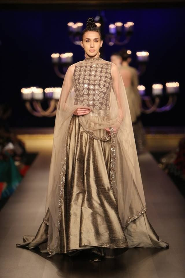 Manish Malhotra at India Couture Week 2014 - mirror work copper lehnga