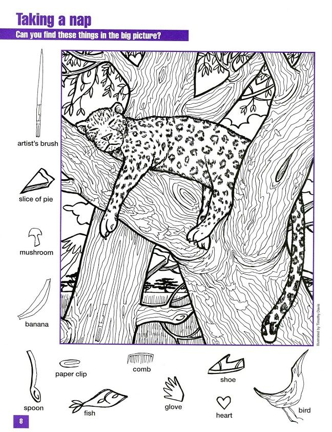 Hidden Animals Coloring Pages : Hidden pictures coloring page look closely search it