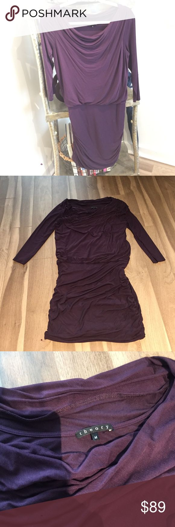 THEORY SCOOP NECK SLEEVED FORM FITTING DRESS Purple maroon colored THEORY dress. Size medium. Sinching on bottom sides and drop NECK. Super soft comfortable material. Specifics listed on the label. Theory Dresses Long Sleeve