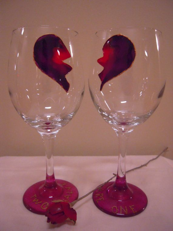 Hand painted Wine Glasses Heart by ArtfulGlassbyFred on Etsy  For that someone special :  )