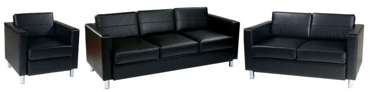 Pacific Contemporary Black Vinyl Chrome Wood Living Room Set