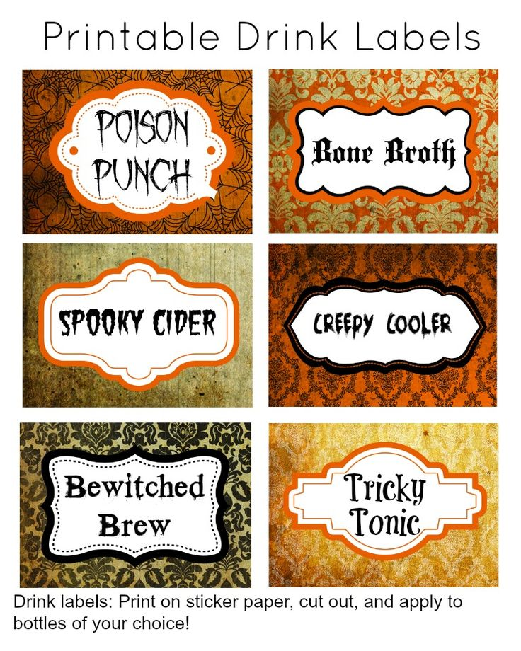 free halloween printable spooky named drink labels great for a halloween party - Great Halloween Drinks