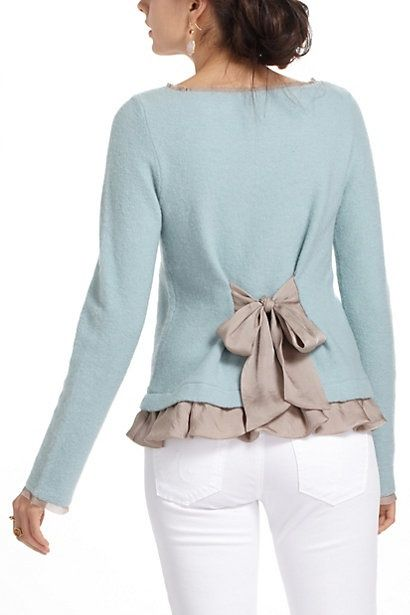 """Add sheer tie and ruffle to purchased sweater. Also about 1/2"""" of trim at end of sleeves and binding the neckline. (Anthropologie)."""