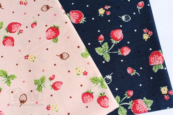 Fraise rose/bleu foncé  tissu de coton japonais par fatconnection, $8.50