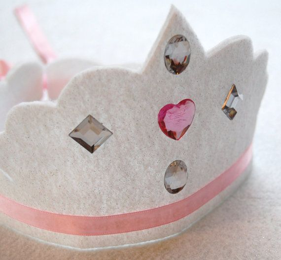 marin scalloped princess cut eco friendly felt crown with gemstones and adjustable ribbon tie.  party, play, pretend.