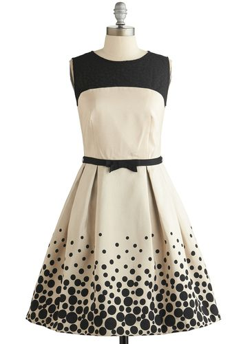 Fizz This Love? Dress - Cream, Black, Polka Dots, Bows, Pleats, Pockets, Formal, Prom, Wedding, A-line, Sleeveless, Better, Scoop, Exposed z...