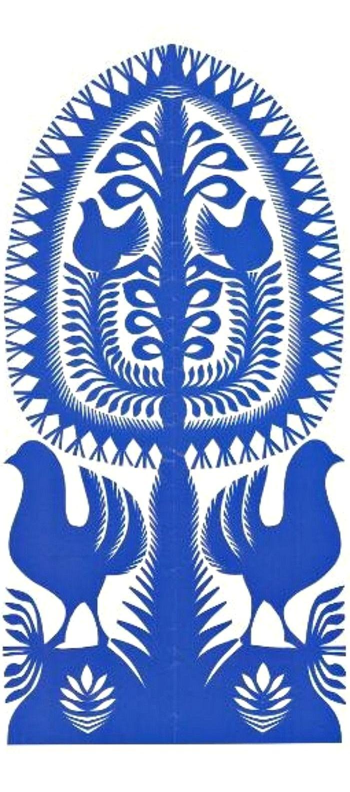 POLISH FOLK ART - Wycinanki - traditional papercut art from Poland, created by artist in Wiesława Bogdańska.