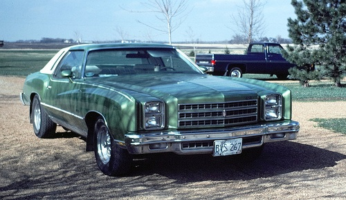 76 Chevy Monte Carlo. Mine in high school was maroon with black top and swivel bucket seats!