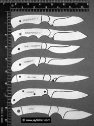 Utility and Working Knives, Artistic Fine Small Knives, caping knives, bird and trout, fine custom handmade knives. Perspex blanks nice idea for one making lots of knives