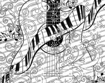 juleez adult coloring page saxophone piano trumpet music art printable coloring page instant download
